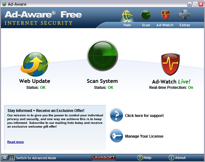 COME ELIMINARE I VIRUS : AD-AWARE FREE
