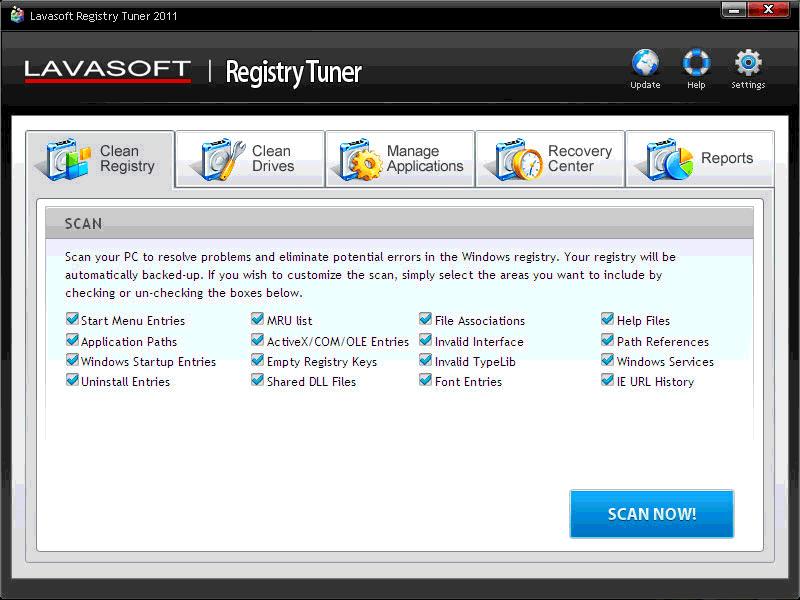 Lavasoft Registry Tuner full screenshot